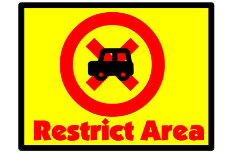 restrict: Symbol indicates that the restrict area
