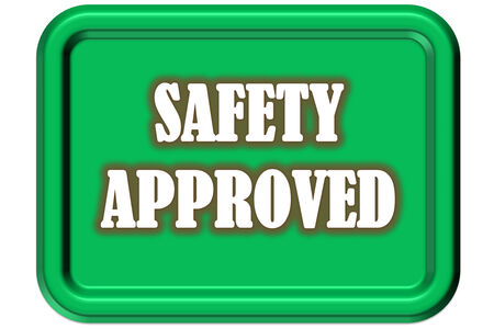 Picture safety sign through the signature of approval that the background color is green, and the edge of the image is a relaxed inset Stock fotó