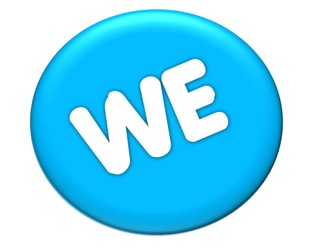 the word of we in blue icon color