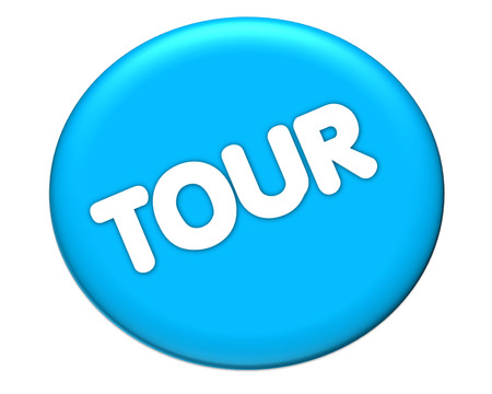 the word of tour in blue icon color  Stock Photo