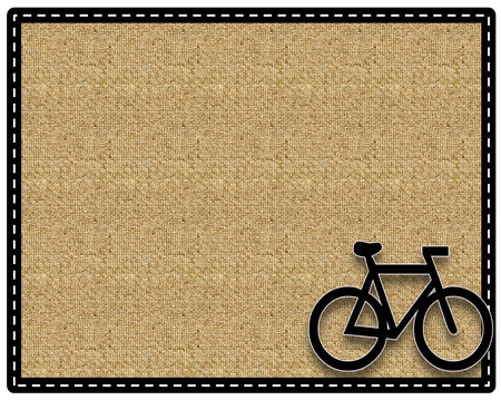 Picture frame bike or cycling with a organic fiber background and border photo