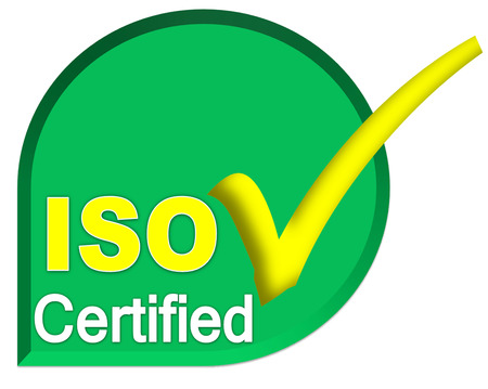certificate symbol of iso system on green color