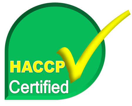 certificate symbol of HACCP system on green color Stock Photo
