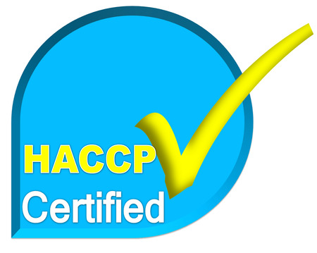 certificate symbol of HACCP system on blue sky color