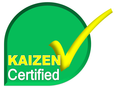 certificate logo or symbol of kaizen system on green color