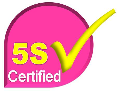 certificate logo or symbol of 5s system on pink color