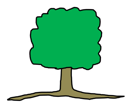 the cartoon picture of  green tree