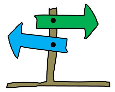 2 way: the cartoon of arrow of 2 way on stand wood