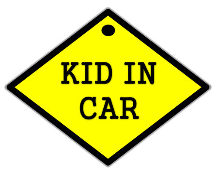 the yellow label of kid in car photo