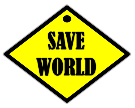 the yellow label of save world photo