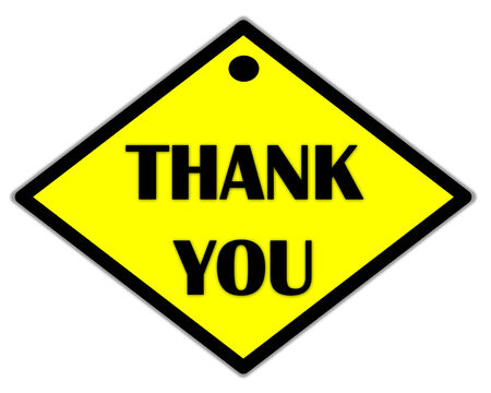 the yellow label of thank you photo