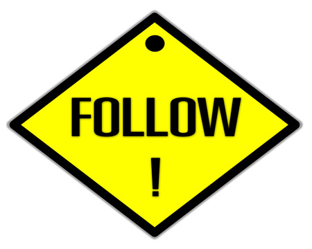 the yellow label of follow word photo