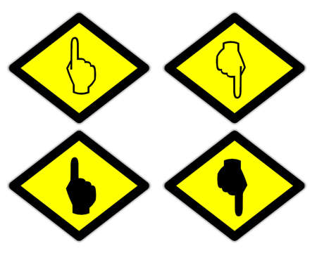 the yellow label of the finger sign way style 3 photo