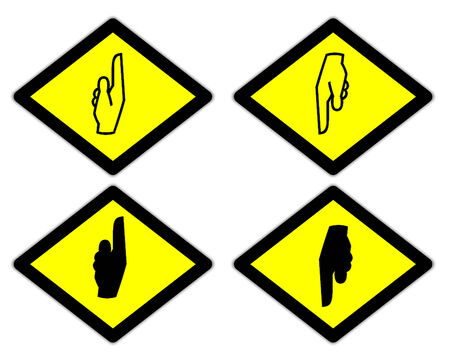 the yellow label of the finger sign way style 2 photo