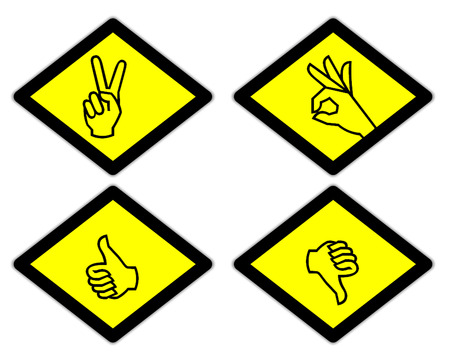 the yellow label of the finger sign way style 4 photo