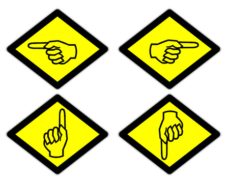 the yellow label of the finger sign way style 5 photo