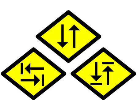 the yellow label of the arrow sign way style 5 photo