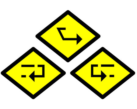 the yellow label of the arrow sign way style 6 photo
