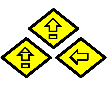the yellow label of the arrow sign way style 7 photo