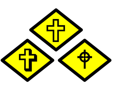 the yellow label of cross photo