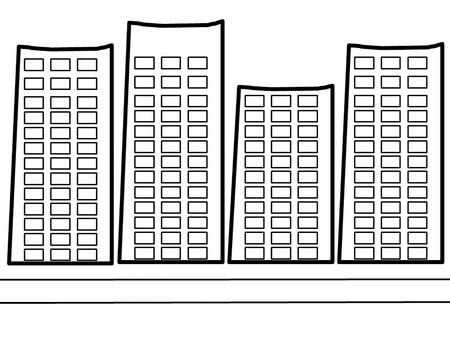 the picture cartoon concept of Building black and white photo