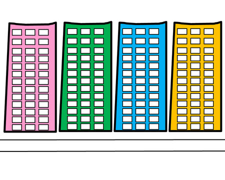 the picture cartoon concept of Building colorful Stock Photo