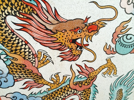 art: The art paint at China temple wall Stock Photo