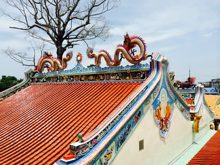 view: The china temple roof Stock Photo