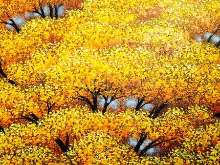 art: Painting of autumn trees Stock Photo
