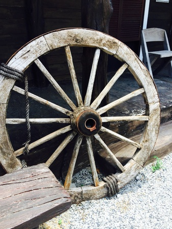 Old large or big wagon wheel wood