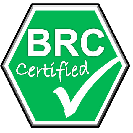 green been: The images symbol have been BRC certified on green background Stock Photo