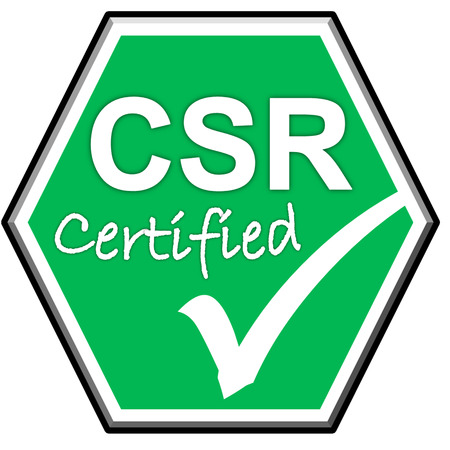 green been: The images symbol have been CSR certified on green background Stock Photo