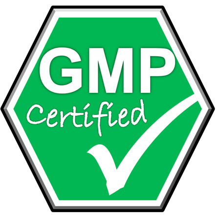 green been: The images symbol have been GMP certified on green background