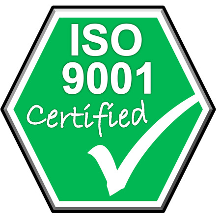 green been: The images symbol have been ISO9001  certified on green background Stock Photo