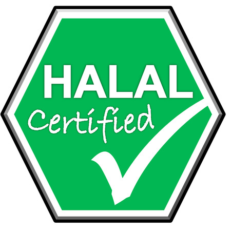 green been: The images symbol have been HALAL certified on green background