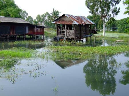 Thailand flooded homes in the countryside. photo