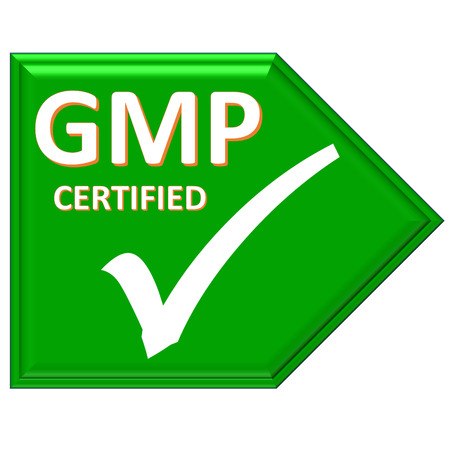certified: The images symbol have been gmp certified Stock Photo