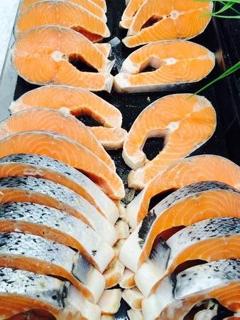 materiale: Di pesce frutti di mare su ghiaccio cibo congelato
