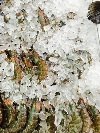 shrimp boat: Shrimp seafood on ice frozen food