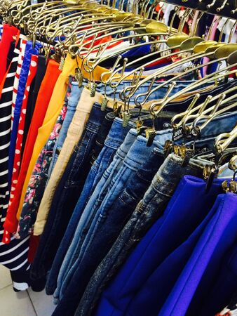 pants: Fashion clothing store Stock Photo