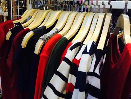 denim: Jacket dress hanging in cloth shop