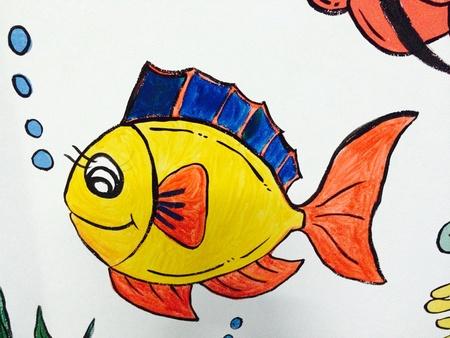 color: Cartoon kid plaint on the wall