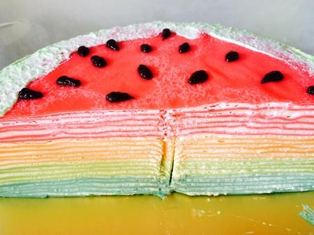 birthday suit: Crepe Cake Stock Photo