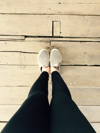 standalone: Standing on the old wooden floor