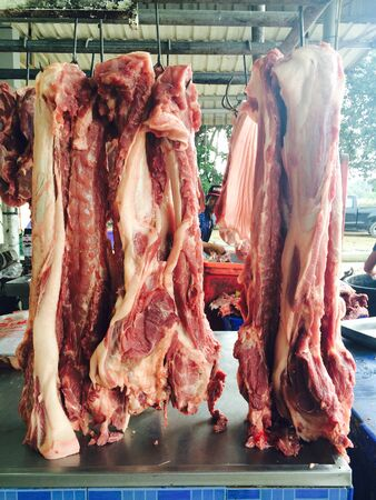 lean out: Fresh pork sold in the market