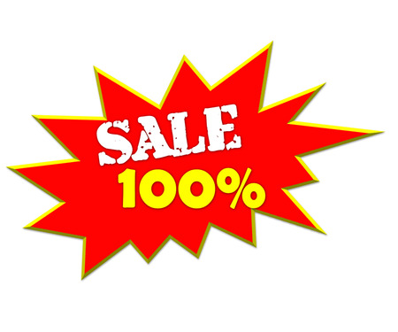 lower value: sale or discount promotion symbol 100