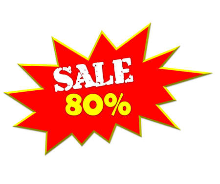 lower value: sale or discount promotion symbol 80