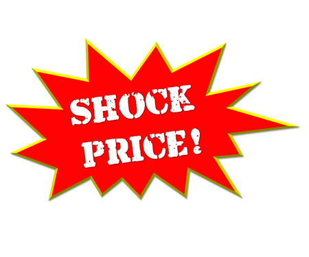 depress: sale or discount promotion symbol  shock price