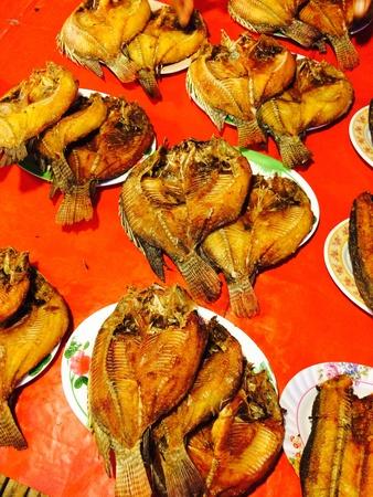 net: fried fish Stock Photo