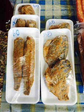 Dried fish in pan